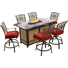 Hanover Traditions 7-Piece High-Dining Set in Red with 30,000 BTU Fire Pit Table, TRAD7PCFPBR-RED