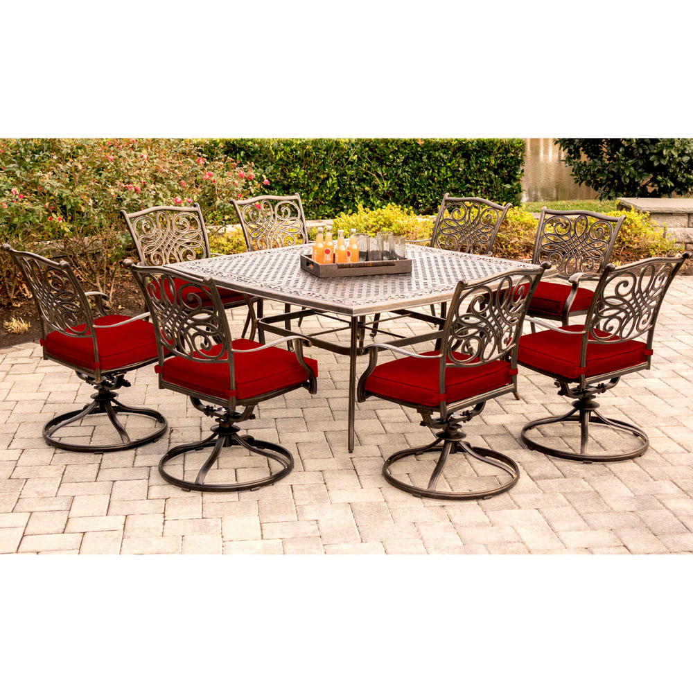 Hanover Traditions 9 Piece Dining Set In Red With Eight