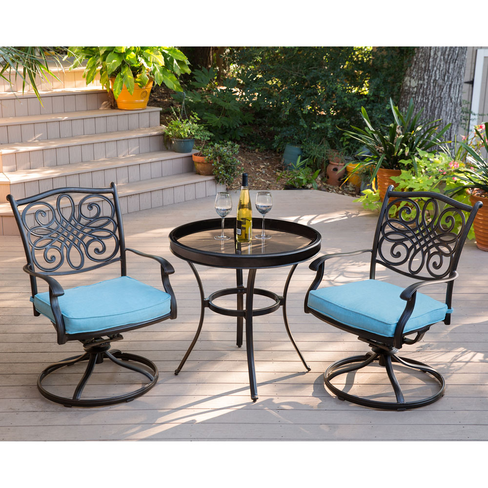 Traditions 3PC Swivel Bistro Set In Blue With 30 In. Glass