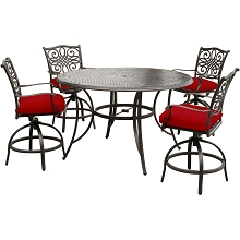 Hanover Traditions 5-Piece High-Dining Set in Red with Four Swivel Chairs and a 56 In. Cast-top Table, TRADDN5PCBR-RED