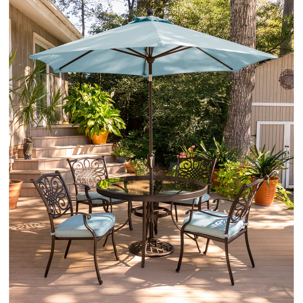 Traditions 5PC Dining Set In Blue With 48 In Glass Top Table 9 Ft Umbrella