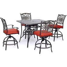 Hanover Traditions 5-Piece High-Dining Set in Red with a 42 In. Square Cast-Top Table, TRADDN5PCSQBR-R