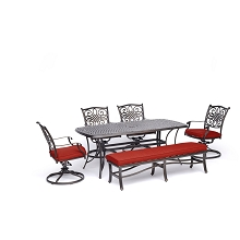 Hanover Traditions 6-Piece Dining Set in Red with 4 Swivel Rockers, a Cushioned Bench, and a 38