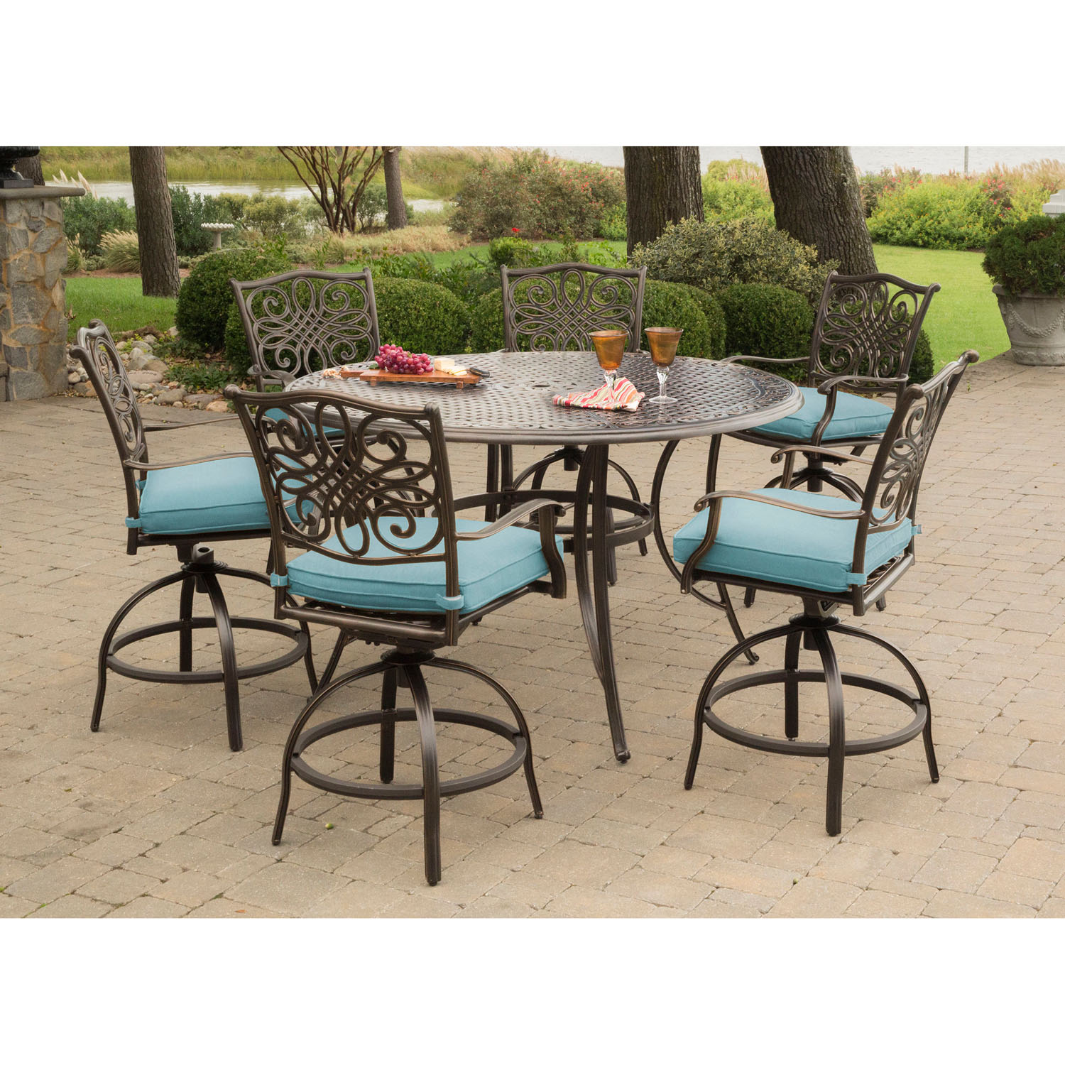 Hanover traditions 7 piece high dining set in blue with 56 for High top dining set