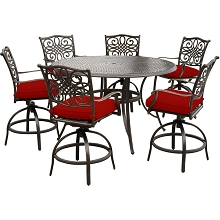 Hanover Traditions 7-Piece High-Dining Set in Red with 6 Swivel Chairs and a 56 In. Cast-Top Table, TRADDN7PCBR-RED