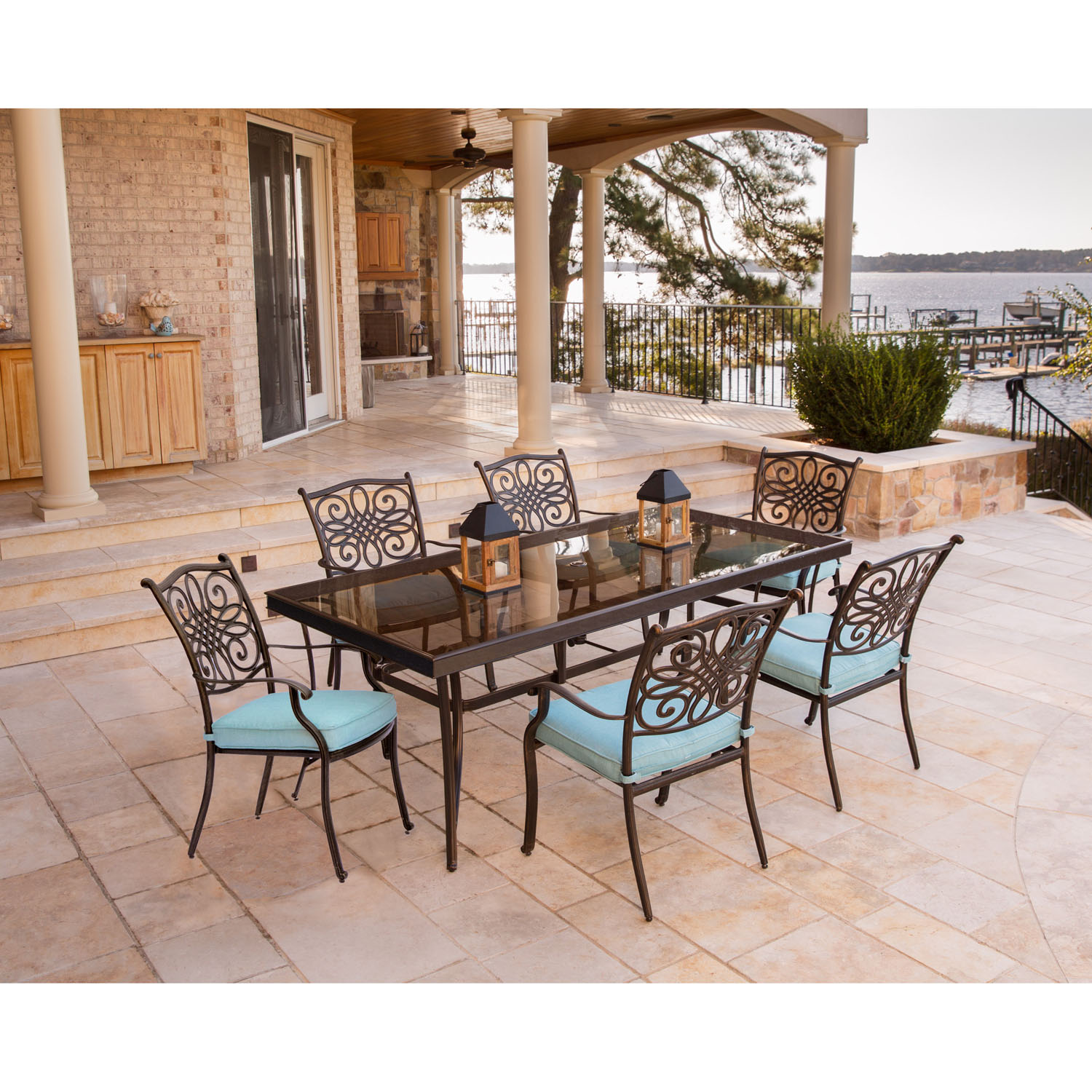 Traditions 7PC Dining Set In Blue With Extra Large Glass