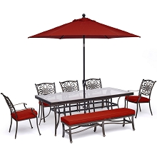Hanover Traditions 7-Piece Dining Set in Red with 5 Chairs, Bench, 42