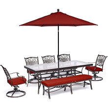 Hanover Traditions 7-Piece Dining Set in Red with 5 Swivel Rockers, Bench, 42