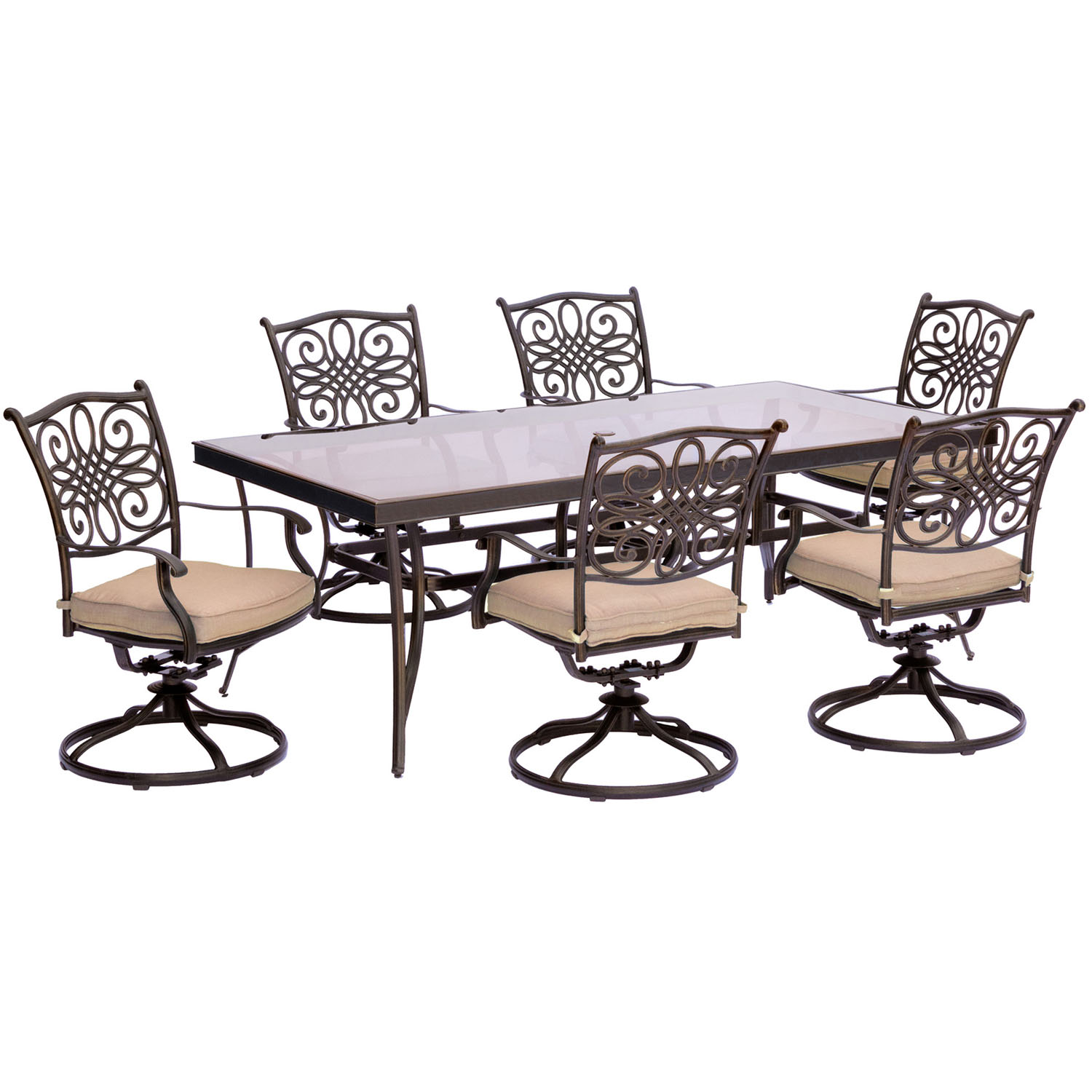 Traditions 7pc dining set in tan with extra large glass for Large glass table top