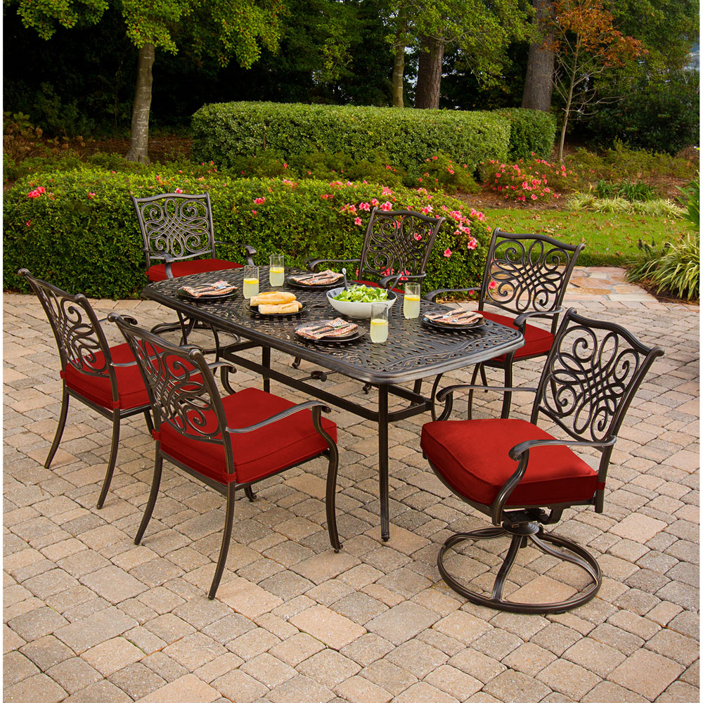 Breckenridge 4 Piece Patio Furniture Set Two Swivel: Hanover Traditions 7-Piece Dining Set In Red With Two