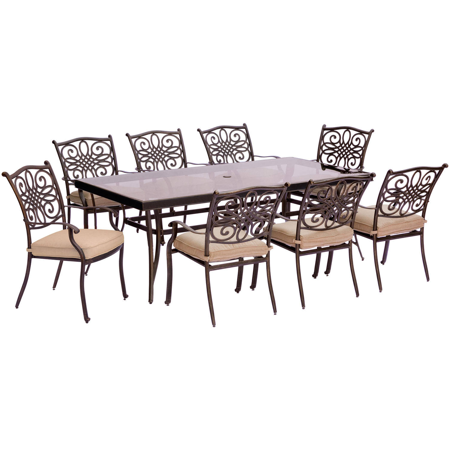 Traditions 9PC Dining Set in Tan with Extra Long Glass Top Dining