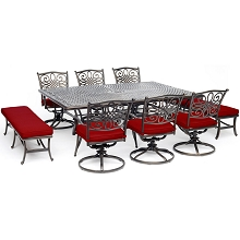 Hanover Traditions 9-Piece Dining Set in Red with 6 Swivel Rockers, 2 Benches, and a 60