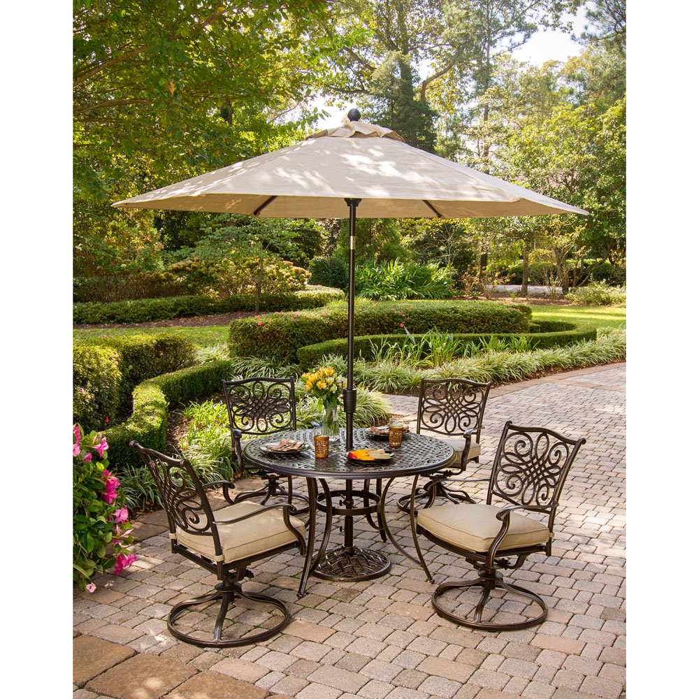 Traditions 5pc Dining Set With Swivel Chairs And Umbrella