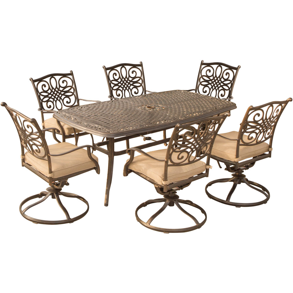 6 Chair Dining Set: Traditions 7PC Dining Set With 6 Swivel Rockers And Cast