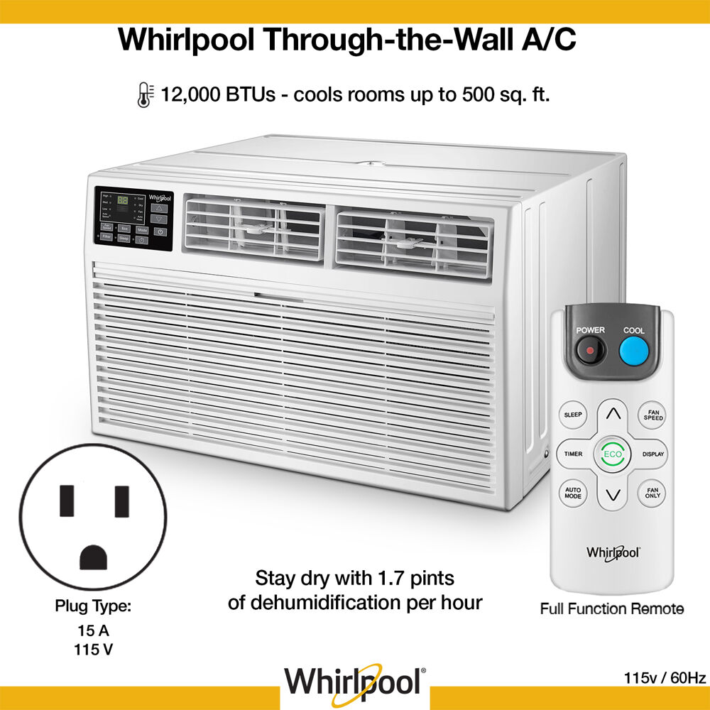 Whirlpool Energy Star 12,000 BTU 115V Through-the-Wall Air ...