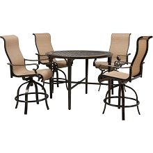 Hanover Brigantine 5-Piece Outdoor High-Dining Set with 4 Contoured-Sling Swivel Chairs and a 50-In. Round Cast-Top Table, BRIGDN5PCBR