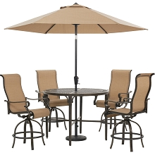 Hanover Brigantine 5-Piece Outdoor High-Dining Set with 4 Sling Swivel Chairs, 50-In. Round Cast-Top Table, 9-Ft. Umbrella, and Base, BRIGDN5PCBR-SU