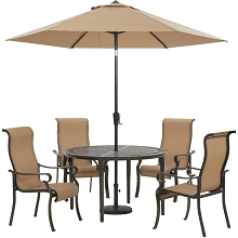 Hanover Brigantine 5-Piece Outdoor Dining Set with 4 Contoured-Sling Chairs, 50-In. Round Cast-Top Table, 9-Ft. Umbrella, and Base, BRIGDN5PCRD-SU