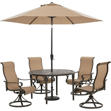 Hanover Brigantine 5-Piece Outdoor Dining Set with 4 Sling Swivel Rockers, 50-In. Round Cast-Top Table, 9-Ft. Umbrella, and Base, BRIGDN5PCSWRD-SU