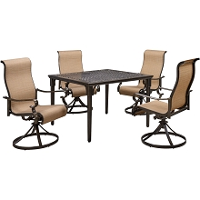 Hanover Brigantine 5-Piece Outdoor Dining Set with 4 Contoured-Sling Swivel Rockers and a 42-In. Square Cast-Top Table, BRIGDN5PCSWSQ