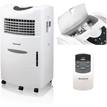 Honeywell 470-659 CFM Indoor Evaporative Air Cooler (Swamp Cooler) with Remote Control in White, CL201AEW