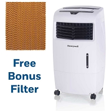 Honeywell 500 CFM Indoor Evaporative Air Cooler in White with Remote Control and an Extra Honeycomb Filter, CL25-1941-KIT