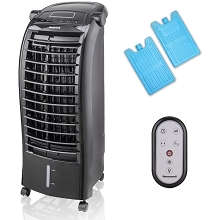 Honeywell 200 CFM Indoor Evaporative Air Cooler (Swamp Cooler) with Remote Control, Black, CS074AEB