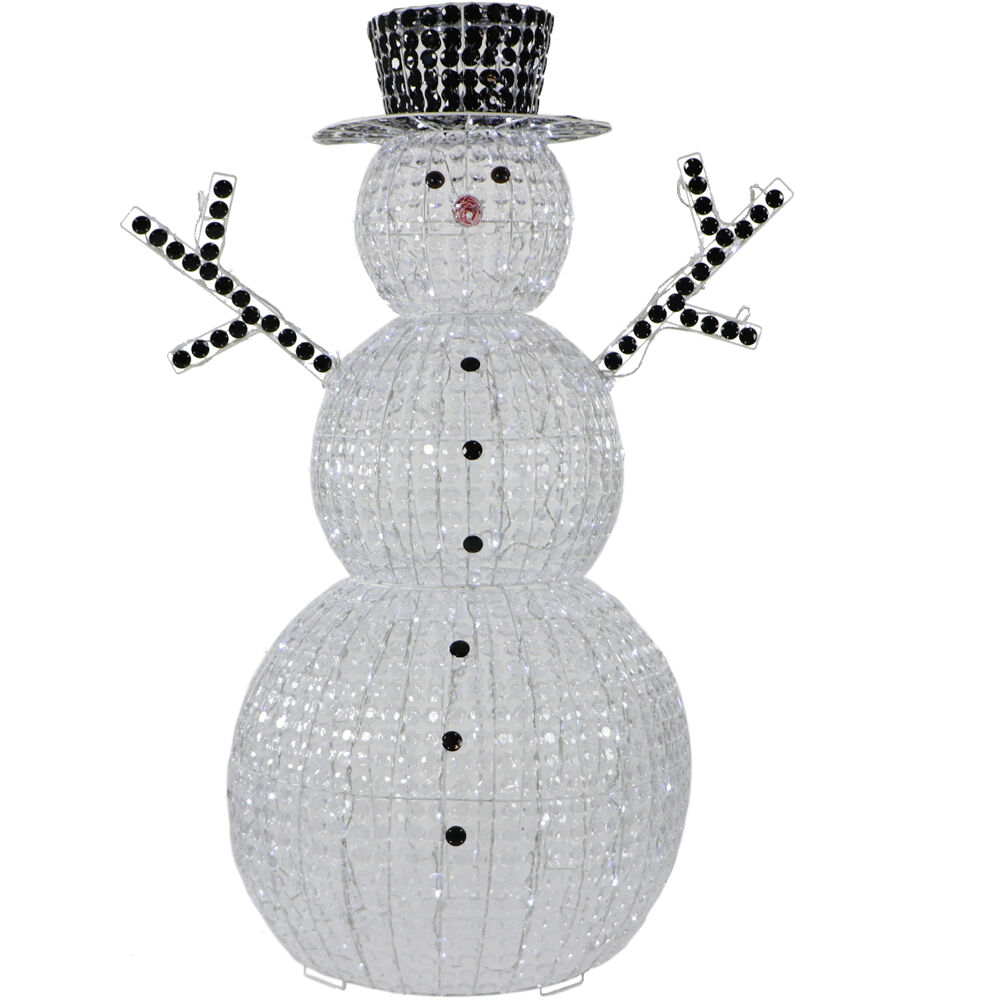 """Fraser Hill Farm Indoor Covered Outdoor Christmas Decorations 60"""" Pre Lit Crystal Snowman w 296 LED Lights and 8 Different Lighting Effects"""