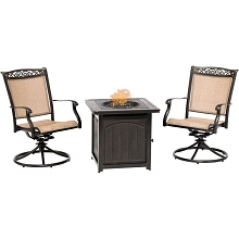 Hanover Fontana 3-Piece Fire Pit Chat Set with 2 Sling Swivel Rockers and a 26-In. Square Fire Pit Side Table, FNT3PCSWFPSQ