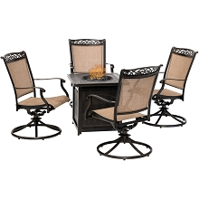 Hanover Fontana 5-Piece Fire Pit Chat Set with 4 Sling Swivel Rockers and a 26-In. Square Fire Pit Table, FNT5PCSWFPSQ