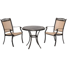 Hanover Fontana 3-Piece Bistro Set with 2 Sling Chairs and a 32-In. Cast-Top Table, FNTDN3PCC