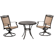 Hanover Fontana 3-Piece Bistro Set with 2 Sling Swivel Rockers and a 32-In. Cast-Top Table, FNTDN3PCSWC