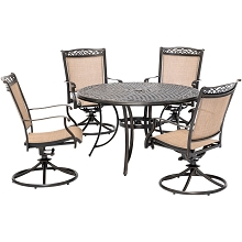 Hanover Fontana 5-Piece Outdoor Dining Set with 4 Sling Swivel Rockers and a 48-In. Cast-Top Table, FNTDN5PCSWC