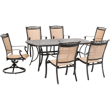 Hanover Fontana 7-Piece Outdoor Dining Set with 2 Sling Swivel Rockers, 4 Sling Chairs, and a 38-In. x 72-In. Cast-Top Table, FNTDN7PCSW2C