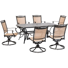 Hanover Fontana 7-Piece Outdoor Dining Set with 6 Sling Swivel Rockers and a 38-In. x 72-In. Cast-Top Table, FNTDN7PCSWC