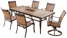 Fontana 7PC Dining Set with 2 Swivel Rockers, 4 Chairs, and Tile-Top Dining Table - FNTDN7PCSWTN-2