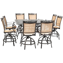 Hanover Fontana 9-Piece Counter-Height Outdoor Dining Set with 8 Sling Swivel Chairs and a 60-In. Square Cast-Top Table, FNTDN9PCBRSQ