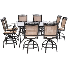 Hanover Fontana 9-Piece Counter-Height Outdoor Dining Set with 8 Sling Swivel Chairs and a 60-In. Square Glass-Top Table, FNTDN9PCBRSQG