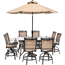 Hanover Fontana 9-Piece Counter-Height Outdoor Dining Set with 8 Sling Swivel Chairs, 60-In. Glass-Top Table, Umbrella, and Stand, FNTDN9PCBRSQG-SU