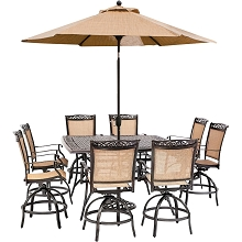 Hanover Fontana 9-Piece Counter-Height Outdoor Dining Set with 8 Sling Swivel Chairs, 60-In. Cast-Top Table, Umbrella, and Stand, FNTDN9PCBRSQ-SU