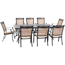 Hanover Fontana 9-Piece Outdoor Dining Set with 8 Sling Chairs and a 42-In. x 84-In. Cast-Top Table, FNTDN9PCC