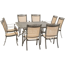 Hanover Fontana 9-Piece Outdoor Dining Set with 8 Sling Chairs and a 60-In. Square Cast-Top Table, FNTDN9PCSQC