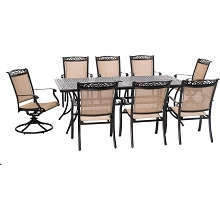 Hanover Fontana 9-Piece Outdoor Dining Set with 2 Sling Swivel Rockers, 6 Sling Chairs, and a 42-In. x 84-In. Cast-Top Table, FNTDN9PCSW2C