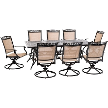 Hanover Fontana 9-Piece Outdoor Dining Set with 8 Sling Swivel Rockers and a 42-In. x 84-In. Cast-Top Table, FNTDN9PCSWC