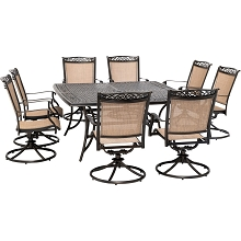 Hanover Fontana 9-Piece Outdoor Dining Set with 8 Sling Swivel Rockers and a 60-In. Square Cast-Top Table, FNTDN9PCSWSQC