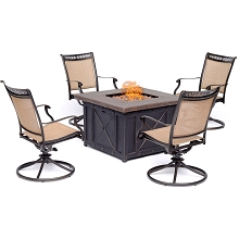 Hanover Fontana 5-Piece Fire Pit Chat Set with 4 Sling Swivel Rockers and a 40,000 BTU Gas Durastone Fire Pit Coffee Table, FON5PCDSW4FP