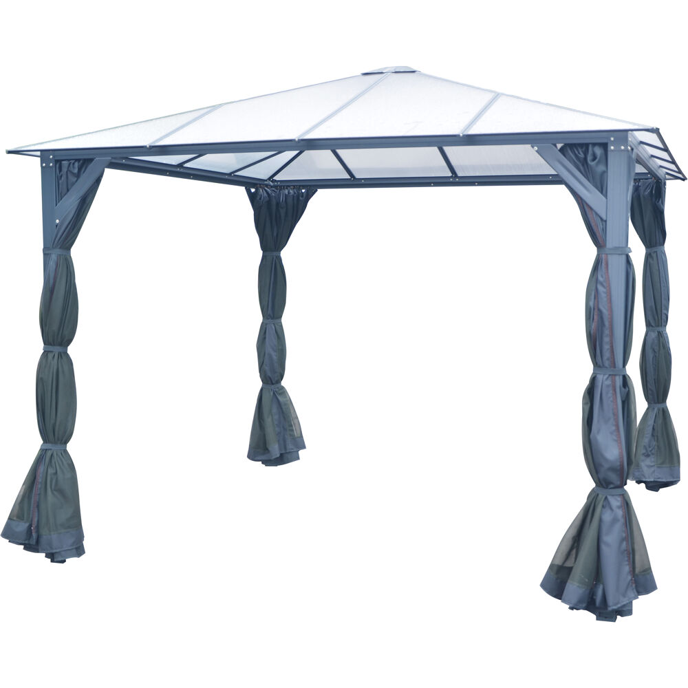 Hanover 10 Ft X 10 Ft Aluminum Hardtop Gazebo With Polycarbonate Roof Panels Sunshade Curtains And Mosquito Netting Hangazcn10x10 Gry
