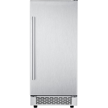 Hanover Library Series 15 In. Stainless Steel Undercounter Ice Maker with Reversible Door and Touch Controls, HIM60701-1SS