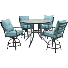 Hanover Lavallette 5-Piece Counter-Height Dining Set in Ocean Blue with 4 Swivel Chairs and a 52-In. Round Glass-Top Table, LAVDN5PCBR-BLU
