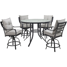Hanover Lavallette 5-Piece Counter-Height Dining Set in Silver Linings with 4 Swivel Chairs and a 52-In. Round Glass-Top Table, LAVDN5PCBR-SLV
